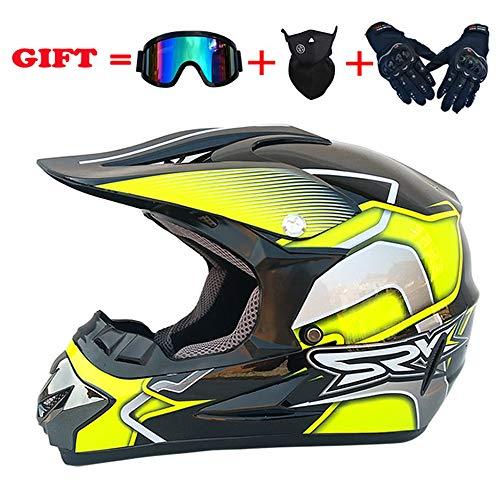 SSIC Kinder-Cross-Helm,Personalisierter Helm für Urbanes Motorrad, Mountain Motocross Helm, Geschenk (Gelb, S)