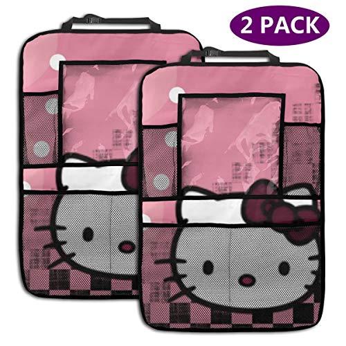 TBLHM Hello Kitty Dots Lot de 2 organiseurs pour siège arrière de Voiture avec Support pour Tablette