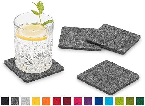 FILU Filzuntersetzer eckig 8er Pack (Farbe wählbar) dunkelgrau - Untersetzer aus Filz für Tisch und Bar als Glasuntersetzer/Getränkeuntersetzer für Glas und Gläser rechteckig viereckig