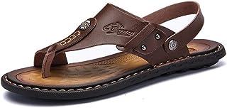 Flip Flops Men Leather Beach Slippers Outdoor Sandals Summer Breathable Beach Shoes (Color : Khaki, Size : 38)