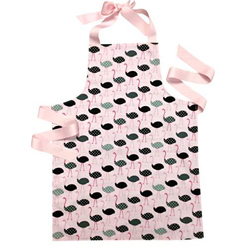 Handmade Pink Ostrich Tween Girl Apron Gift for Kitchen Baking or Art