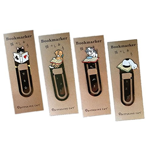 4 Pcs Cute Cat Theme Metal Bookmark Clips Book Journal Gift Cat Lover