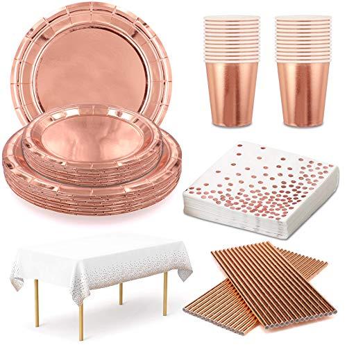 Vajilla Desechable Cumpleaños Oro Rosa Platos y Vasos para Cumpleaños Servilletas Pajitas de Papel Mantel Desechable Kit Fiesta Cumpleaños Oro Rosa 24 Invitados