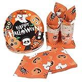 Hemoton, Set di stoviglie monouso di carta per Halloween, 24 pezzi, per feste di Halloween, con 24 piatti di carta, 48 tovaglioli e 24 bicchieri