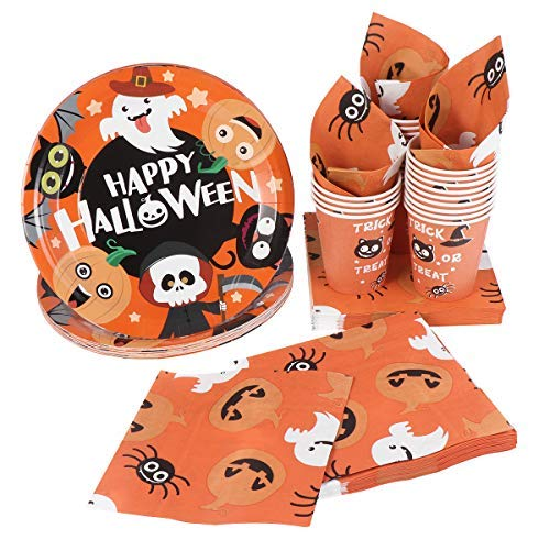 Halloween Disposable Dinnerware Set -Serves 24 – Hemoton Paper Tableware Halloween Party Supplies Including 24 Paper Plates, 48 Napkins and 24 Cups