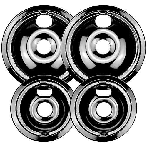 WB31M20 and WB31M19 Porcelain Burner Drip Pan Bowls Replacement By AMI PARTS Fits GE/Hotpoint Electric Range Cooktop Includes 2 8-Inch and 2 6-Inch Drip Pans