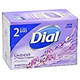 Dial Antibacterial Deodorant Soap, Lavender & Twilight Jasmine, Rinses Clean without Drying, 2-3.2 oz bars …