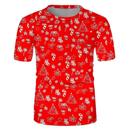 K-Youth Camiseta Hombre Navidad Papá Noel Estampado T Shirt Casual Camisetas Manga Corta Hombre Deporte Camisas...