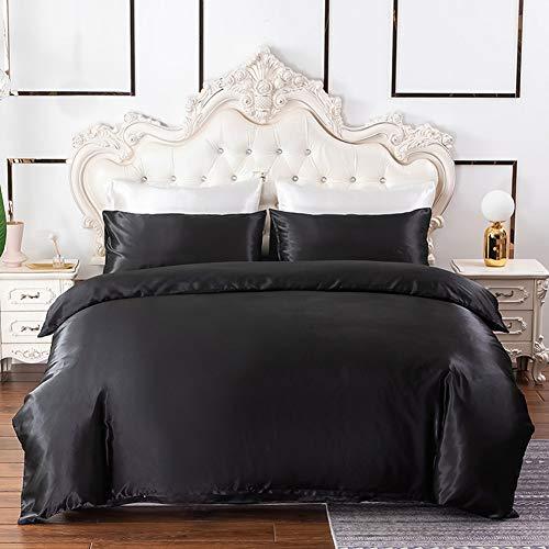 Chanyuan Ropa de cama de satén, 135 x 200, negro, monocolor, brillante, funda nórdica de 2 piezas, 100% poliéster satinado, juego de cama de verano, funda de almohada de 80 x 80 cm