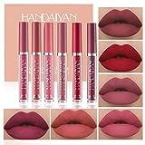 6 Colors Matte Liquid Lipstick Makeup Set, Matte Velvety Long-Lasting Wear Non-Stick Cup Not Fade Waterproof Lip Gloss (A)
