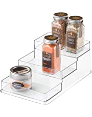 iDesign Kuchenny stojak na przyprawy, mała szafka organizer na przyprawy idealny na przyprawy, słoiki, puszki i inne, kompaktowe przechowywanie kuchenne wykonane z trwałego plastiku, przezroczyste