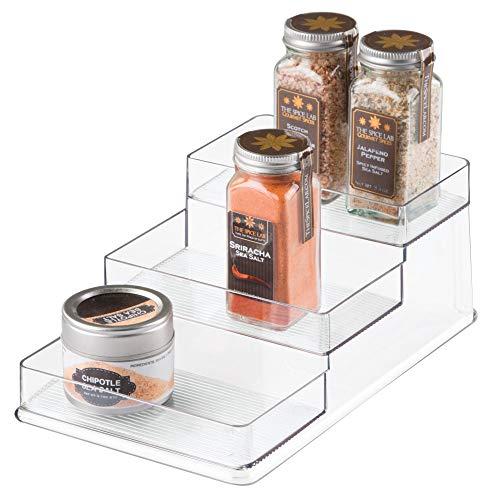 iDesign Especiero con 3 pisos para cocina, compacto organizador de armarios de cocina fabricado en plástico, práctico estante para las especias, transparente