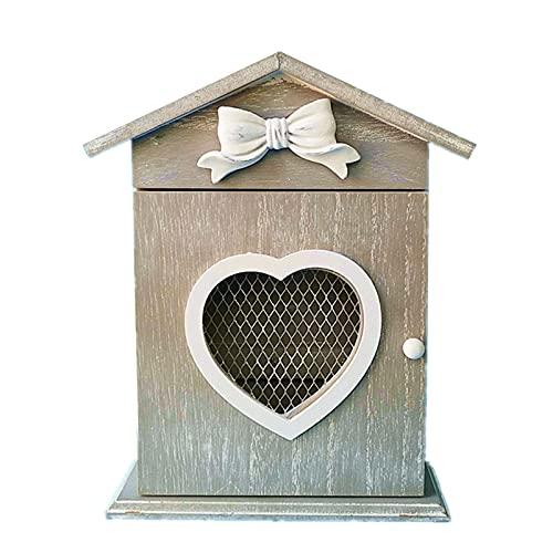 Portachiavi retrò a parete,portachiavi decorato a parete,porta chiavi in legno,ingresso per la gestione delle chiavi,scatola portaoggetti rustica per la decorazione della casa con 6 ganci per chia