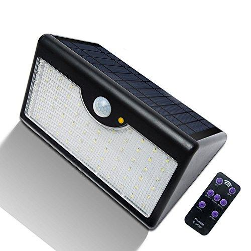 Wandlamp, buitenverlichting, solarlampen, solarlampen voor buiten, 8 W, met afstandsbediening, zwart, warm licht