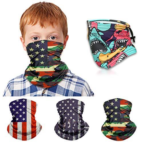 Kids Neck Gaiter Face Mask for Boys Girls Face Cover Scarf Bandana Balaclava Adjustable Reusable Washable 3 Pack