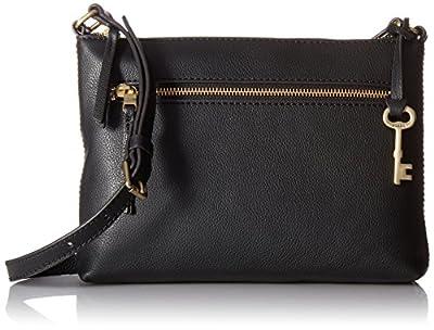 Fossil Women's Fiona PVC Small Crossbody Handbag, Black Stripe