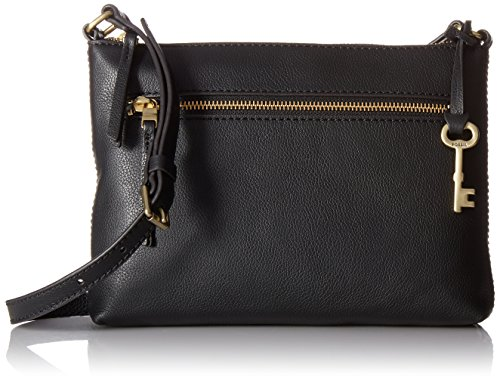 Fossil Women's Fiona Leather Small Crossbody Handbag, Black