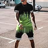 GAOQING Sets De Ropa Deportiva Casual para Hombre Juegos De Chándal De Verano Hombres Camiseta De Manga Corta 2 Pieza + Pantalones Cortos Secado Rápido Corta Conjunto De Ropa Deportiva Masculino,5,XL