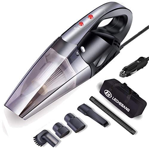 Car Vacuum Cleaner LB LECHEBANG Vacuum Cleaner for car with LED Light DC 12V 120W Potable Handheld Auto Vacuum Filter Carry Bag (Black)