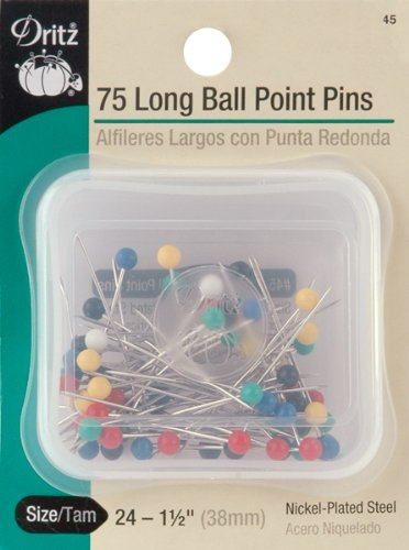 Dritz 45 Ball Point Pins, Long, 1-1/2-Inch (75-Count)