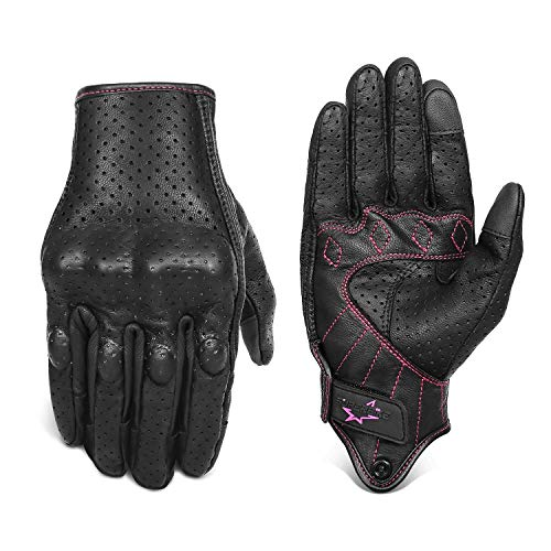 Women 's Goatskin Leather Motorcycle Gloves Touchscreen Hard Knuckle Armored Motorbike Gloves for Ladies(G01W-Black Leather with Rose Line, S)