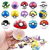 8pcs Collectible Pokeballs and 24PCS Mini Poke Heroes Action Figures - Pocket Monster Action Figure Toys Set