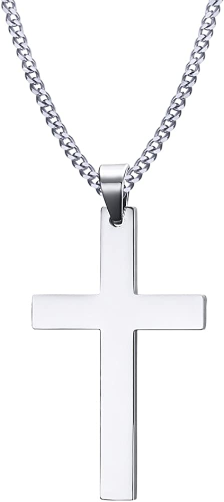 HUANIAN Collar con colgante de cruz cristiana con cadena de acero inoxidable para hombre y mujer, estilo simple