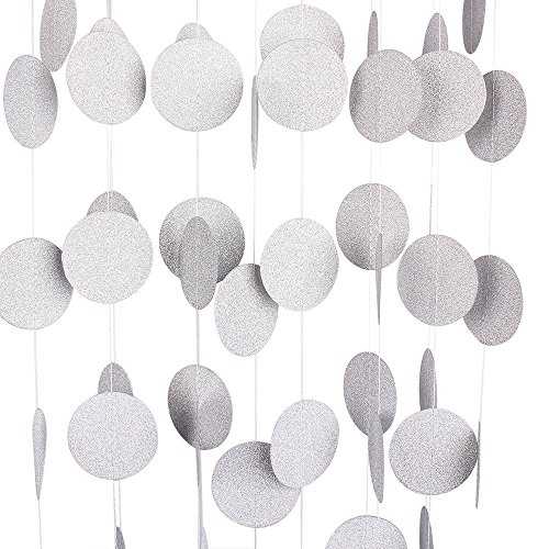 Voloker 26Ft Set of 2 Circle Dots Paper Garland for Room Party Decorations Backdrop - (Silver,Glitter)