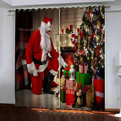 ANAZOZ 2 Cortinas Habitacion Cortina Poliester Habitacion Papá Noel y Árbol de Navidad con Regalos Rojo Blanco Verde Cortinas de Salon Tamaño 274x274CM