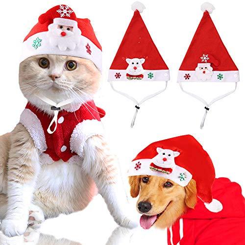 NIBESSER Weihnachtsmützen Hunde Nikolausmützen Hunde Katze Haustier für Weihnachten