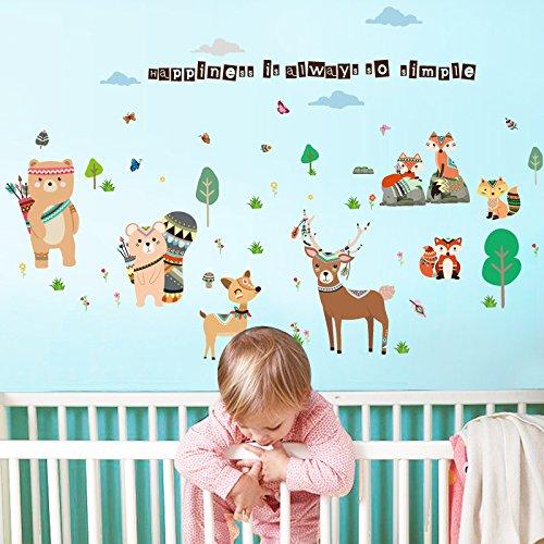 Cartoon Friendly Animal Stickers Muraux Pour Chambre D'enfants Ours Cerf Fox Forêt Animaux Home Decor Pour Enfants Heureux Autocollant 157 * 110 Cm