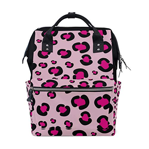 ALINLO Pink Leopard Patten Diaper Bags Mummy Tote Bags Large Capacity Multi-Function Backpack for Travel