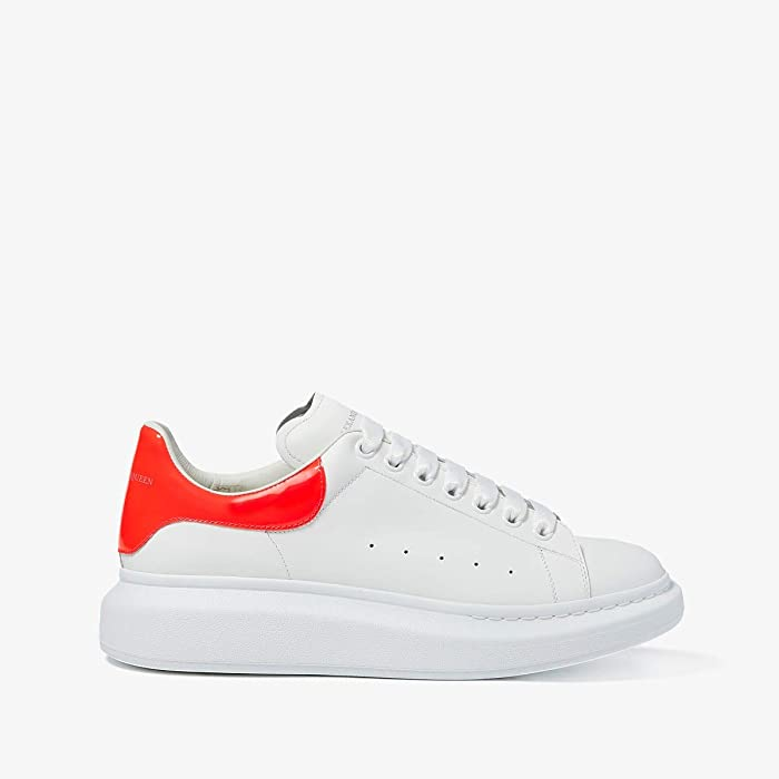 Alexander McQueen  Simple Double Sole Sneaker (White/Coral) Mens Shoes