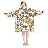 Manta con capucha, casual suave microfibra casera, camisón cálido para hombres y mujeres con diseños de miel Doodle