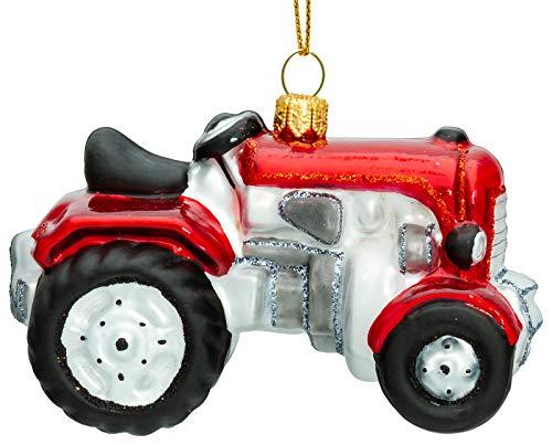 SIKORA BS723 Traktor Christbaumschmuck Glas Figur Weihnachtsbaum Anhänger - Premium Line, Variante:rot