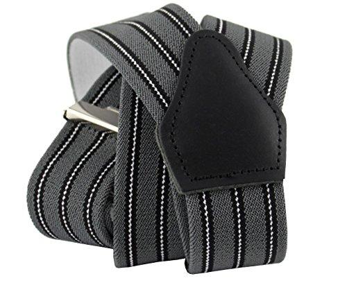 Sencillo Herren Hosenträger Grau Schwarz Streifen mit Starken Clips Y-Form