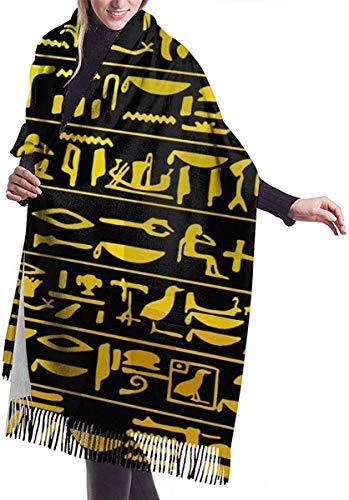 Hdadwy Golden Egypt Pharao Piktogramm Damen Schal Große weiche seidige Pashmina Kaschmir Schal Wrap