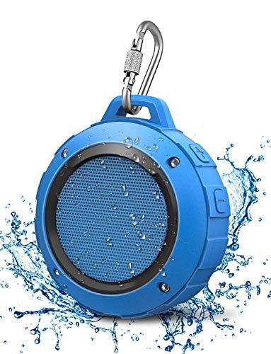 LENRUE Wasserdicht Bluetooth Lautsprecher, Kabellos Mini Dusche Lautsprecher mit HD Stereo, 8 Stunde Spielzeit, Mikrofon, Saugnapf, Karabiner, Speaker für Outdoor, Wandern, Camping, Beach (Blau)