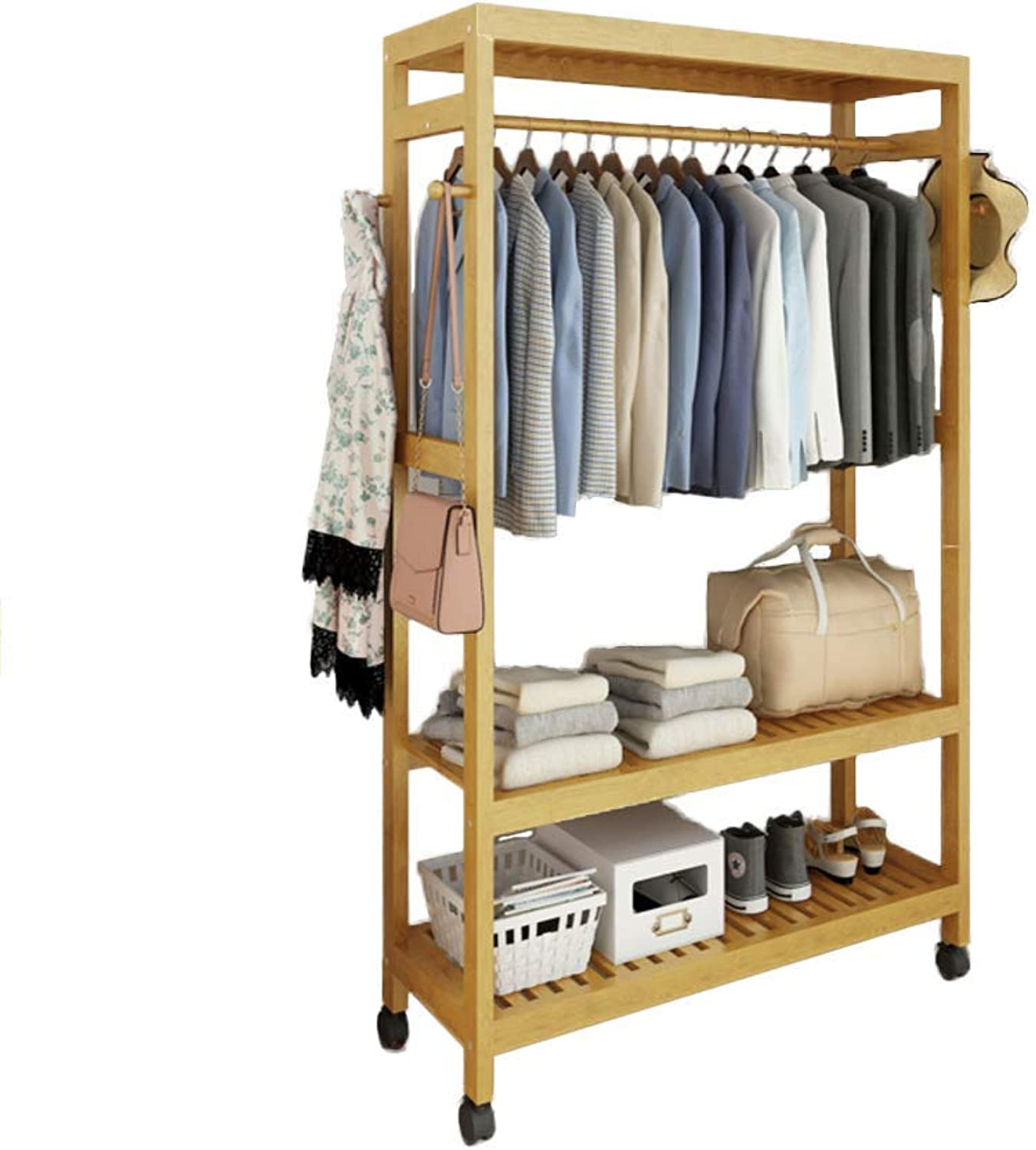 DYR Bamboo Entryway Coat Rack with Shelf, Premium Coat Rack shoes Rack, with Roller Heavy Duty Hall Home-F 69x30x165cm (27x12x65inch)