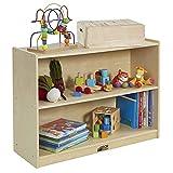 ECR4Kids - ELR-0450 Birch 2 Shelf Storage Cabinet with Back, Wood Book Shelf Organizer/Toy Storage for Kids, Natural