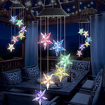 Wind Chime Solar Light Color Changing LED Solar Powered Blue Star Wind Chime Solar Lamp Wind Mobile Waterproof Portable Outdoor Decorative Romantic Wind Bell Light for Patio Garden Home Party Decor
