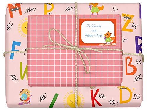 Geschenkpapier-Set für Kinder: Einschulung (für Mädchen): 4x Einzelbögen + 4x Schulheft-Etiketten