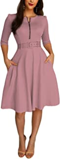 MISOMEE Women Solid Zipper Up Belted Pleated Casual Dress