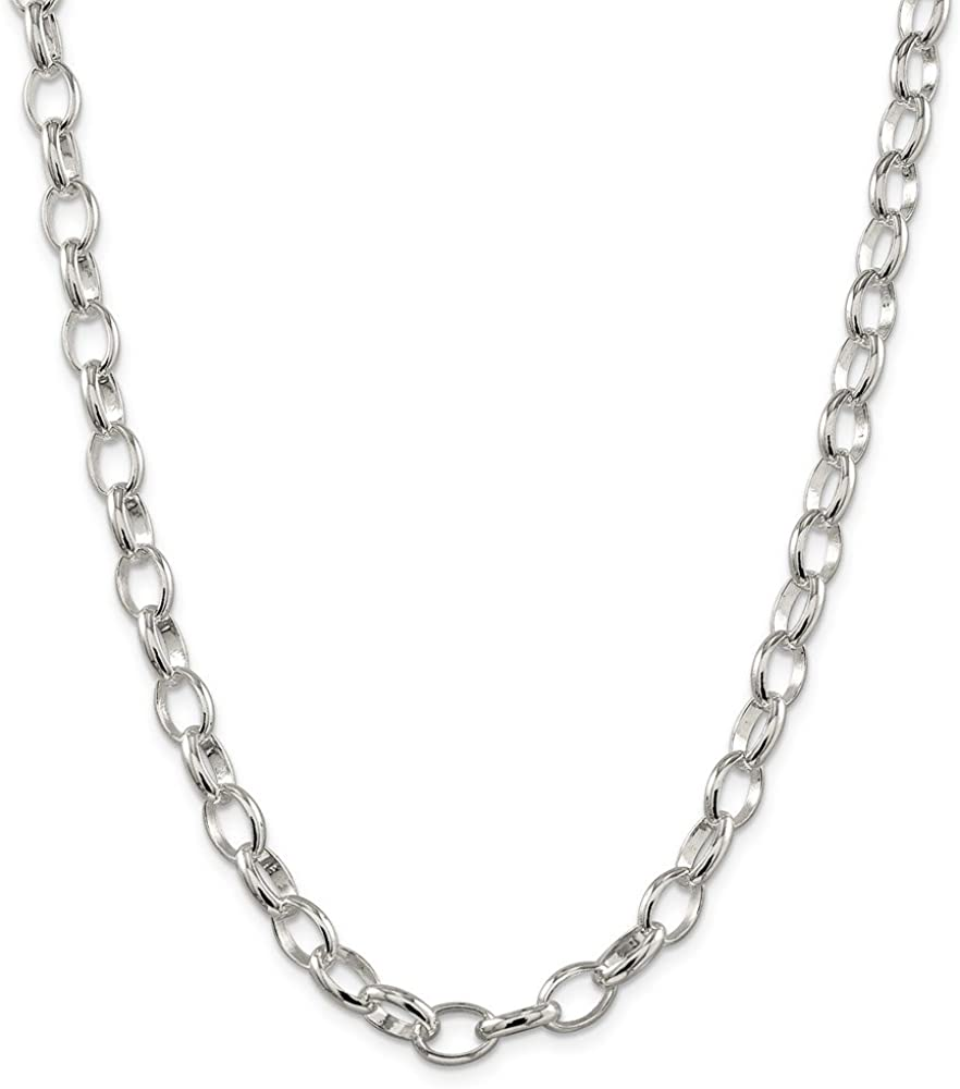Sterling Silver Solid 8mm Fancy Link Rolo Necklace Chain Spring Ring Clasp 17.5 inches