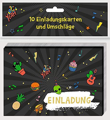 Einladungskarten - Funny Patches: 10 Einladungskarten in 2 Designs mit Umschlägen