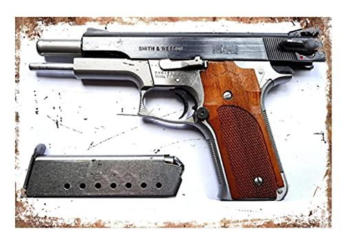 ZzSTX Airsoft Pistol 101 Desert Eagle Gun Metal Cartel De Chapa Placa De Metal Póster Artístico Decoración Bar Pub Club Cafe Pintura De Pared 50X70Cm Sin Marco