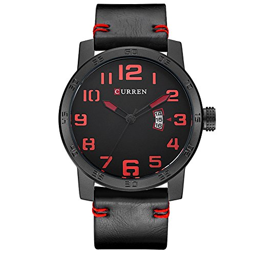 Curren Men Quartz Watch Fashion Casual Sport Clock Male Wristwatch Black Leather Strap Waterproof Mens Watches 8254 (Black Black red)