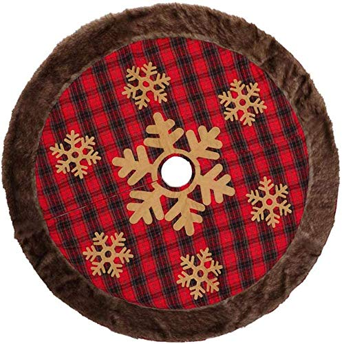 XCXC Christmas Tree Skirt, 48 Inches Plush Longer Faux Fur Christmas Mat,Round Plush Printing,New Year Home Party Decoration- Fits Any Size Tree