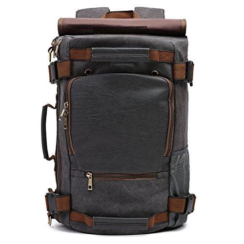 ECOSUSI Rucksack Canvas Laptoptasche für 17' Laptop Vintage Schulrucksack Reisetasche Daypack Grau
