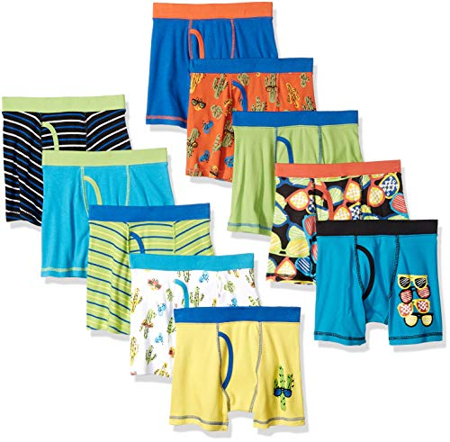 Spotted Zebra Boys' Kids Cotton Boxer Briefs Underwear, 10-Pack Sunglasses, Large